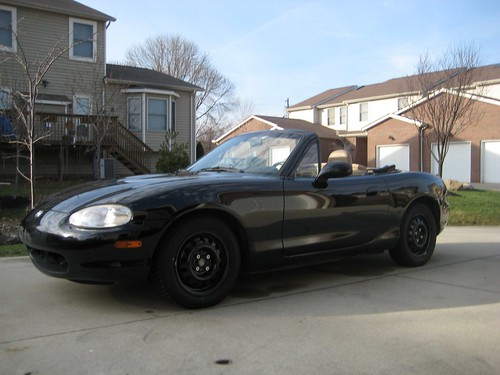 Miata in Absurdly Warm Cleveland January Day == Top Down!