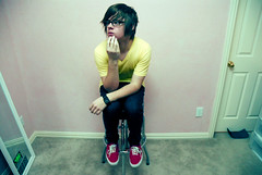 thinker (Danny Raybon) Tags: old school red portrait yellow neck glasses texas thinker v american vans oakley frisco apparel