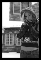 Courtney Courtyard (diejohndoe) Tags: winter portrait white black cold outside 50mm prime nikon courtney f32 d40