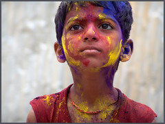 RAMESH (Sukanto Debnath) Tags: boy red portrait india colors face yellow festival kid eyes child sony holi f828 debnath hyserabad sukanto sukantodebnath