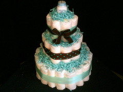 3 Tiered Trendy Blue And Chocolate BY Angelina's Gifts (angelinasplace2004) Tags: blue boy baby babyshower diapercake nappycake