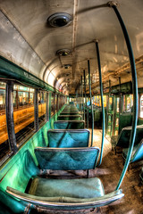 Phantom Passenger (Mike Chen aka Full Time Taekwondo Dad) Tags: city orange usa public museum los view angeles tracks railway fisheye transportation transit empire driver passenger gauge narrow hdr lary ldr greatphotographers orangeempirerailwaymuseum streecars sal16f28 hdrps