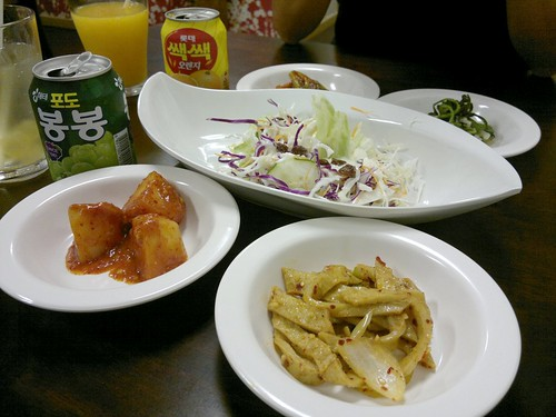 Banchan with bong bong and ssack ssack