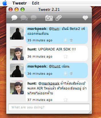 tweetr AIR client on OS X