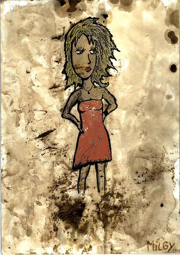 Girl on dirty paper