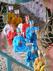 Daoists praying (purplecamaleon) Tags: world travelling church religious temple photography photo ancient asia vietnamese foto image religion praying ceremony monk carlos vietnam ritual priest fotografia mass dao fotografo southasia peralta daoism southvietnam purplecamaleon carlosperalta vietnamdelsur
