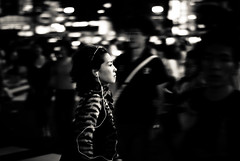 Tokyo nights XV (manganite) Tags: street city girls people urban bw motion blur topf25 beautiful beauty fashion japan night digital dark geotagged asian japanese tokyo nikon women asia pretty nightshot tl candid shibuya young style atmosphere streetscene fancy  nippon  d200 nikkor dslr gals panning nihon kanto stylish japanesegirl 50mmf18 10faves utatafeature manganite nikonstunninggallery geo:lon=139700561 date:year=2006 geo:lat=35659539 date:month=july date:day=8 format:ratio=32