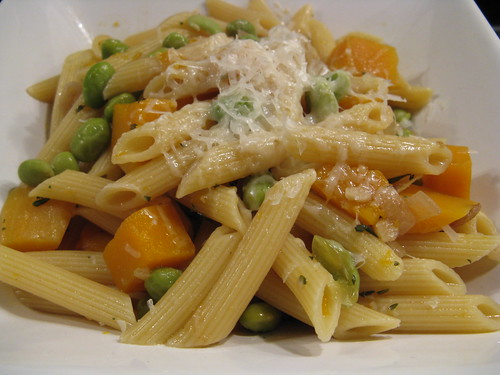 Pasta with Butternut Squash and Soybeans