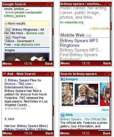 Mobile Search Results Compared