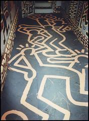 Keith Haring Tribute - Masonic Temple (Winnipeg) 1992 (7/11) (William Shropshire) Tags: copyright canada art bar graffiti mural winnipeg  mother 8 canadian tribute venue macaroni keithharing masonictemple tuckers radientbaby
