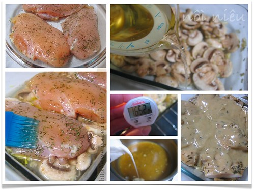 Chicken Breasts baked on a bed of mushrooms Method