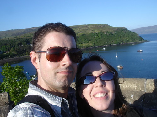 Kari and Ed atop the Portree church tower.