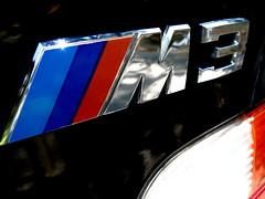 M3 Emblem (youneverknowphotography) Tags: blue red black car emblem shiny stripes bmw 1997 m3 cosmos taillights motorsport darkblue e36