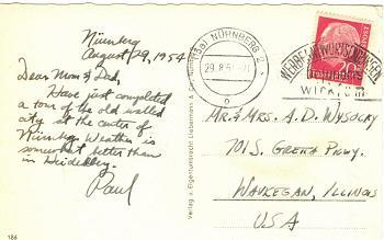 Nürnberg postcard, 1954 (back)