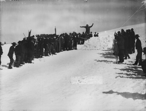 Breaking a snow jumping record,  1900