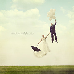 And They Lived Happily Ever After (Shawn Van Daele) Tags: wedding sky cute love clouds vintage balloons square couple dream romance fantasy 365 gown weddingdress float bliss quirky brideandgroom weddinggown levitate happilyeverafter andtheylivedhappilyeverafter 366days shawnvandaele renaissancestudiosphotography