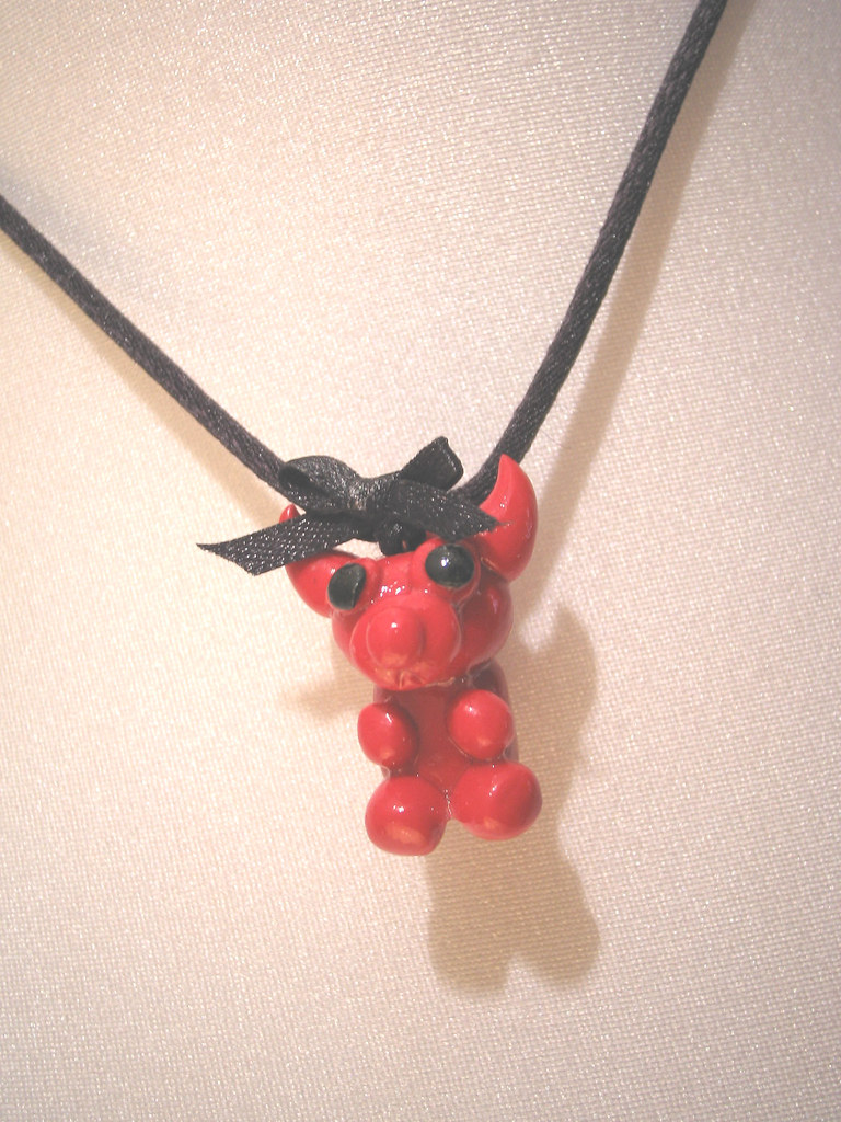 Red Devil Bear Charm Necklace