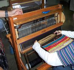 Weaving on a SAORI loom