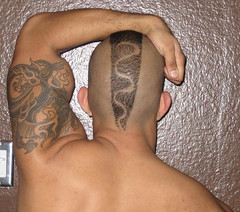 Snake in the head (Flatboy) Tags: shaved shave mohawk tat