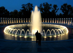 world war two memorial (sandcastlematt) Tags: longexposure monument fountain washingtondc dc dusk nationalmall dcist wwiimemorial worldwartwomemorial