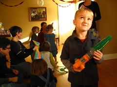 hmmm.... (Jason Lander) Tags: birthday friends party jason cake kids oregon portland toys ben presents candels magician caryn