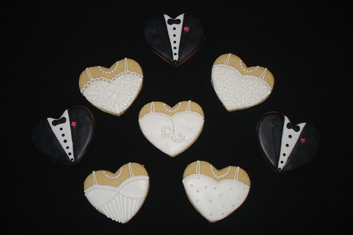 Heart Wedding Dress and Tuxedo Cookies