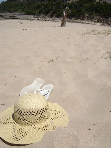 My hat on the beach