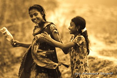 precious moment........ [Hajiganj, Chandpur, Bangladesh] (Ideas_R_Bulletproof) Tags: world life girls portrait people monochrome smile sepia rural happy nikon village joy happiness teen precious moment bangladesh ordinary developing chandpur d80 hajiganj sigmaapo50500mmf463exdg