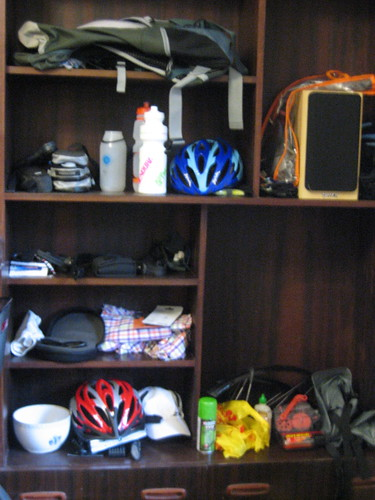 Clare's tidy bike stuff