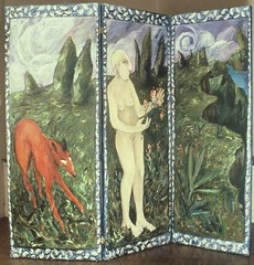 verso of Earth screen (siptakg) Tags: trees red sea sky woman water animal nude doors bald canvas oil land siptak