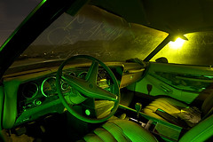 Night Shift Knob (Lost America) Tags: lightpainting abandoned night interior cockpit fullmoon grandprix pontiac junkyard 1976 highway395 nocturnes pearsonville