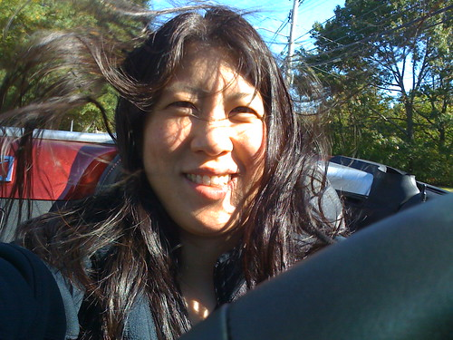 Hair flying in the Saturn SKY Roadster