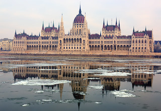 The reflection of the Hungarian Parliament on drifting ice