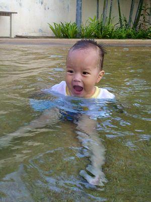 Justin swimming