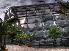 University Glass House in Graz (theowl84) Tags: park plants glass clouds garden bench palms botanical austria university wintergarden karl graz glasshouse dri hdr wintergarten botanik glashaus franzens aplusphoto