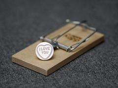 Careful now... (Rune T) Tags: love danger mouse close risk candy heart chance trap suspense loveheart flickrsbest abigfave creativeshotinvited diamondclassphotographer ysplix rtphoto