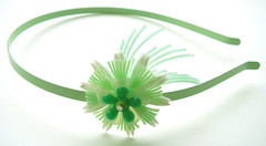 Green and White Vintage Flowers Headband