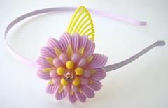 Purple and Yellow Vintage Flowers Headband