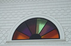 New stained glass window by day