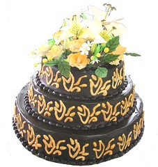 3 Tier Rich chocolate Fire theme wedding cake (the Baker & the School) Tags: wedding roses orange india 3 cake fire lily chocolate bangalore rich celebration theme tier