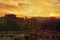 Morning At The Port (Philipp Klinger Photography) Tags: old morning sea italy sun mountain texture water yellow port sunrise hotel boat san mediterranean italia campania antique marco castellabate abigfave anawesomeshot