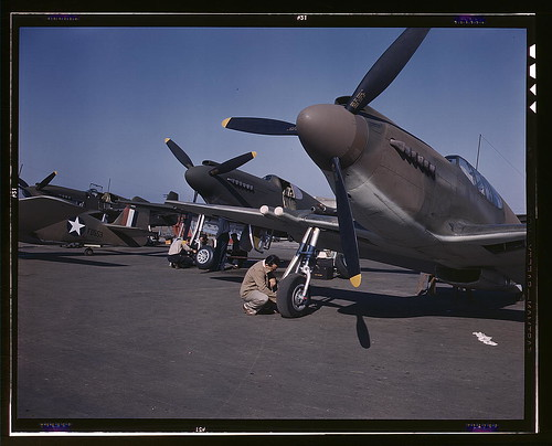 "Warbird picture - P-51 (""Mustang"") fighter planes being prepared for test flight at the field of North American Aviation, Inc., plant in Inglewood, Calif. (LOC)"
