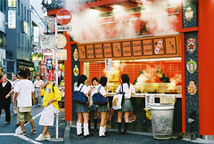 Shibuyettes again... (colodio) Tags: japanese girls woman shibuya tokyo japan uniform loose socks schoolgirls hongkong steam food chinese restaurant red fh010008hotsteamv colodio shibuyettes highschool kogaru explore ギャル style japon japonais kawaii cute