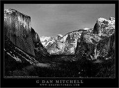 Last Light on El Capitan - Yosemite Valley (G Dan Mitchell) Tags: california travel trees light sunset usa mist snow mountains fog last forest landscape nationalpark view dusk nevada stock scenic tunnel cliffs sierra valley yosemite halfdome elcapitan cloudsrest sentineldome bridalveilfall wawona threebrothers induro gdanmitchell