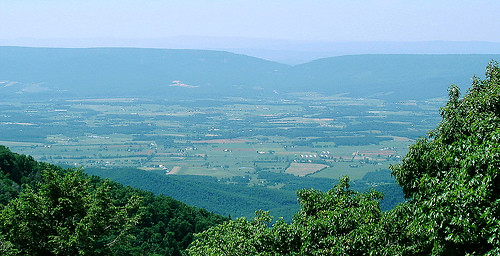 View of the Shenandoah Valley from the Shenandoah National Park