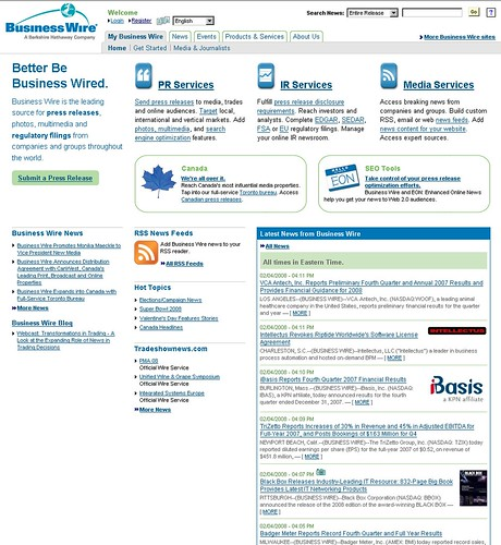 BusinessWire.com homepage
