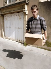 Personal delivery (fatseth) Tags: voyage street travel shadow portrait photoshop fly flying funny post legs box body joke magic transport creative fake levitation ombre sidewalk corps nancy montage prank delivery carton vole handicap rue 2008 carry morel jambes trottoir boite drole mutilation volant livraison amusant fatseth ilovemypics genseric
