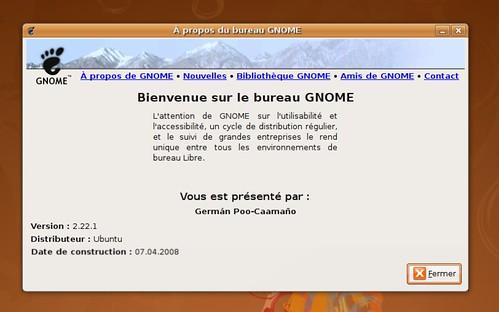 Gnome 2.22.1 sous Ubuntu Hardy Heron AMD64.