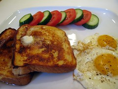 breakfast of champions - french toast eggs sunny side up