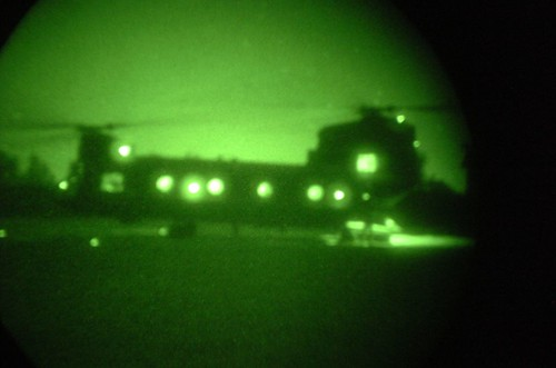 CH-47 Chinook helicopter preparing for a night Air Assault